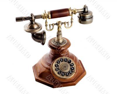Retro-styled telephone set. Isolated on white