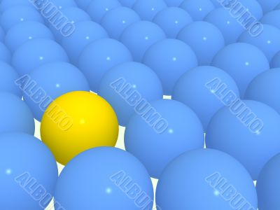 3d yellow sphere among blue spheres