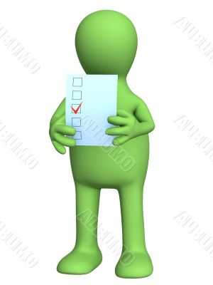The 3d stylized person voting at elections