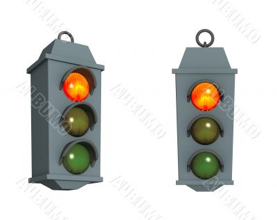 Traffic light with a burning red signal