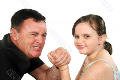 Father And Daughter Arm Wrestle 1