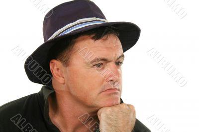 Man In Hat Thinking