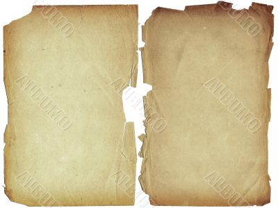 Two shabby blank pages with fragmentary edges.