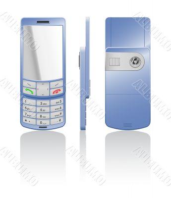 Vector illustration of a blue cellphone-slider