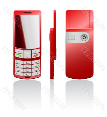 Vector illustration of a red cellphone