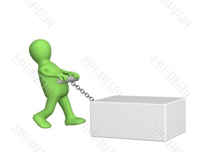 The 3d person -  puppet a pulling heavy box