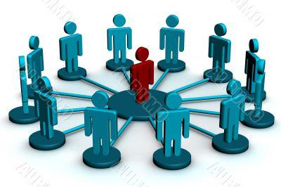 Conceptual image of teamwork. 3D image.
