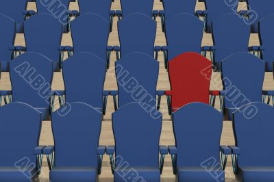 Rows of dark blue armchairs and one red. 3D image.