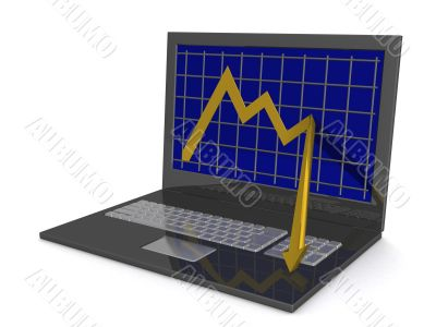 Laptop. The concept of financial falling. 3D image.