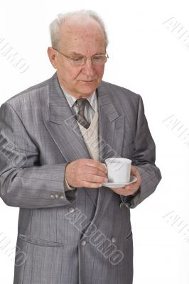 Senior man with tea cup