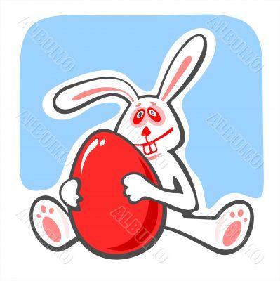 happy rabbit and egg