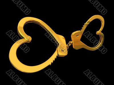 Handcuffs-heart isolated on black background