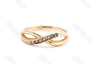 Golden ring on white background