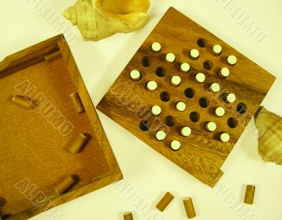 Wooden game a puzzle - entertainment at a leisure