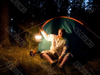 Tourist with movint lantern