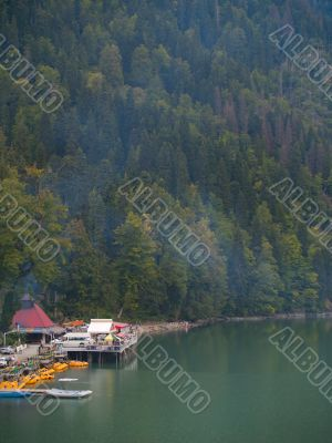 Touristic place on the mountains lake
