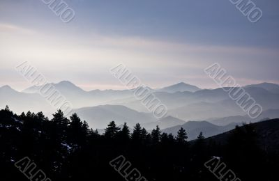 Picture of the mountains covered by mist