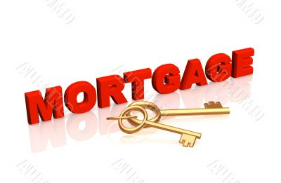 Gold keys, laying near to a word the `mortgage`