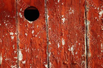 Red door peep hole