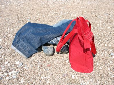 Blue Jeans and Red Bag