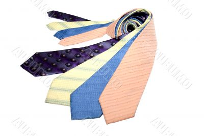 Group of different coloured ties