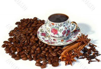 Hot coffee on coffee bean