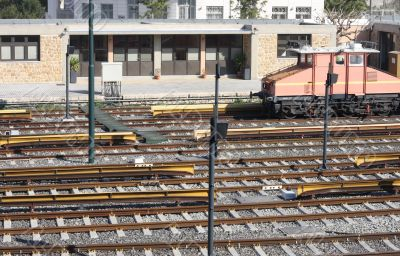 Railway tracks and depot with train
