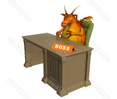 The 3d monster - boss, sitting at office