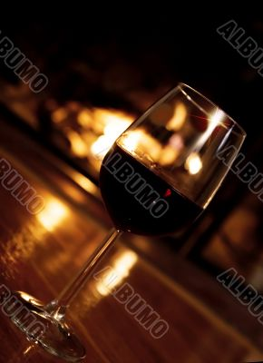 Festive romantic scene in front of the fireplace