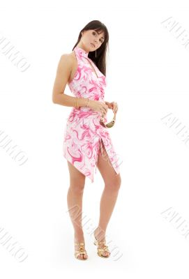 girl in pink dress and golden platform shoes