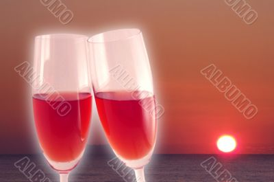 Red wine in the sunset