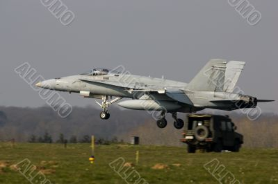 F/A-18A Hornet jet fighter about to land