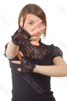 attractive girl looking through her fingers
