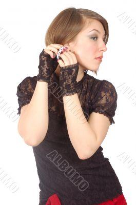 attractive girl adjust her earring