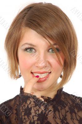 portrait girl put her finger on lips