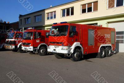 Fire trucks at station