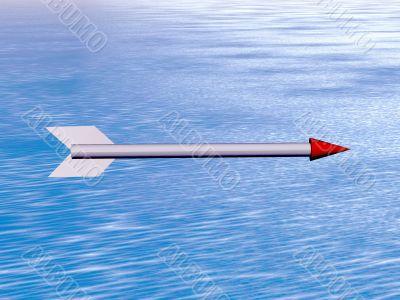 arrow flying above ocean