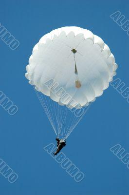 Jump of the parachuter.