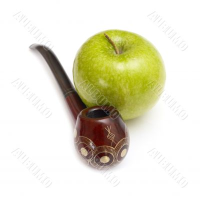 Long ornamented north-caucasian pipe with apples