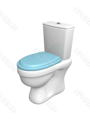 Toilet bowl, with the closed seat of blue color