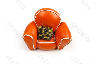 orange chair & cushion on white