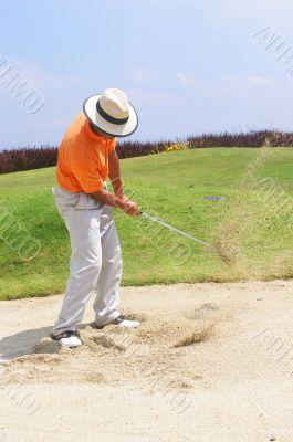Tourist in sand trap