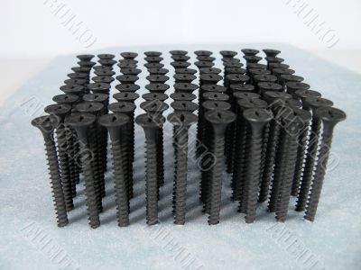 Screws twisted in a surface