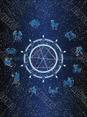 Zodiac postcard - type 1