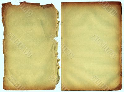 Two shabby blank pages with fragmentary edges