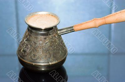 Turkish coffee pot with coffee