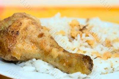 Roasted chicken leg with rice