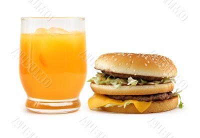 hamburger and orange juice