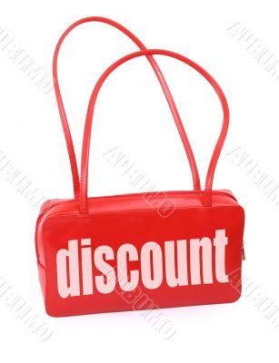 handbag with discount sign