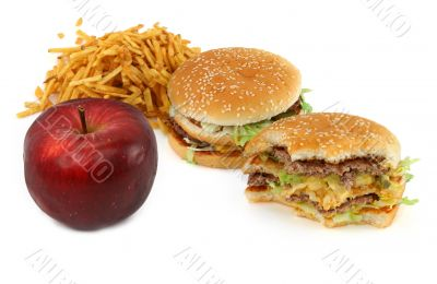 junk food and apple